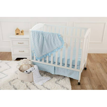 Emily Mini Crib Bedding (American Baby Company Heavenly Soft Minky Dot 3-Piece Mini/Portable Crib Bedding Set, Choose your)
