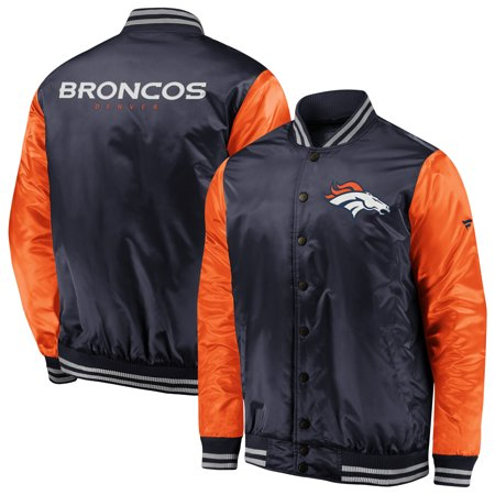 Denver Broncos NFL Pro Line by Fanatics Branded Iconic Satin Bomber Jacket  - Orange/Navy