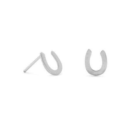 Horseshoe Post Stud Earrings Sterling Silver 7mm Size