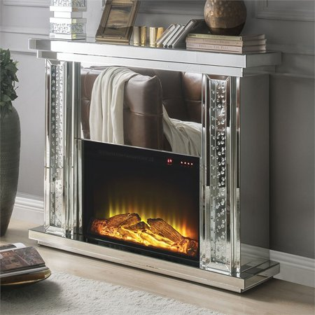 ACME Nyasia Mirrored Fireplace with Faux Crystals and Remote Control ()