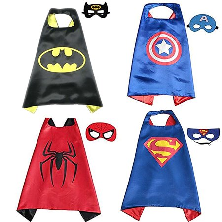 【Best Gift】Super Hero Cape and Mask for Boys, Costume for Kids Birthday Party, Pretend Play, Dress Up 4Sets