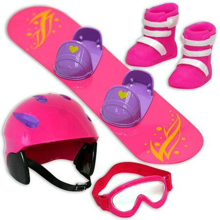 Click N Play Doll Snowboard Set And Accessories  Perfect For 18 Inch American Girl Dolls