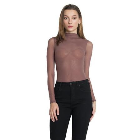 Nude Full Body Suit (ofashionusa women's sheer mesh long sleeve mock neck bodysuit (black,)