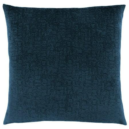 Monarch Mosaic Plush Velvet Throw Pillow in Dark Blue