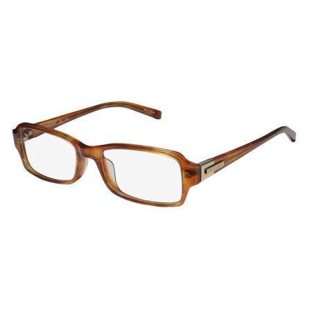 New Trussardi 12524 Mens/Womens Designer Full-Rim Amber / Gold Ophthalmic Signature Emblem Gorgeous Frame Demo Lenses 52-17-135 (Eyeglass Frames Near Me)