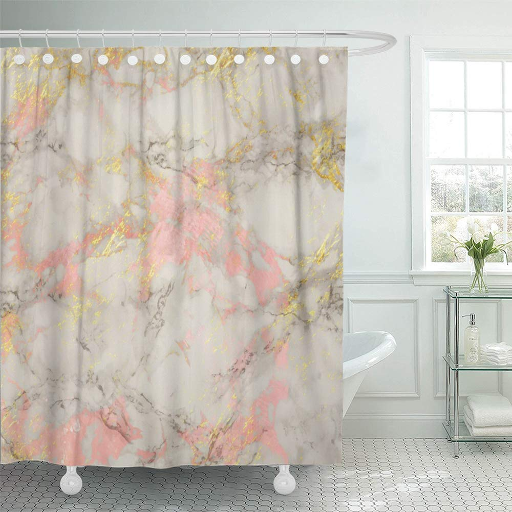 PKNMT Pink Rose and Gold Marble Shiny and Glossy Effect for Elegant and Feminine Yellow Shower Curtain Bath Curtain 66x72 inch