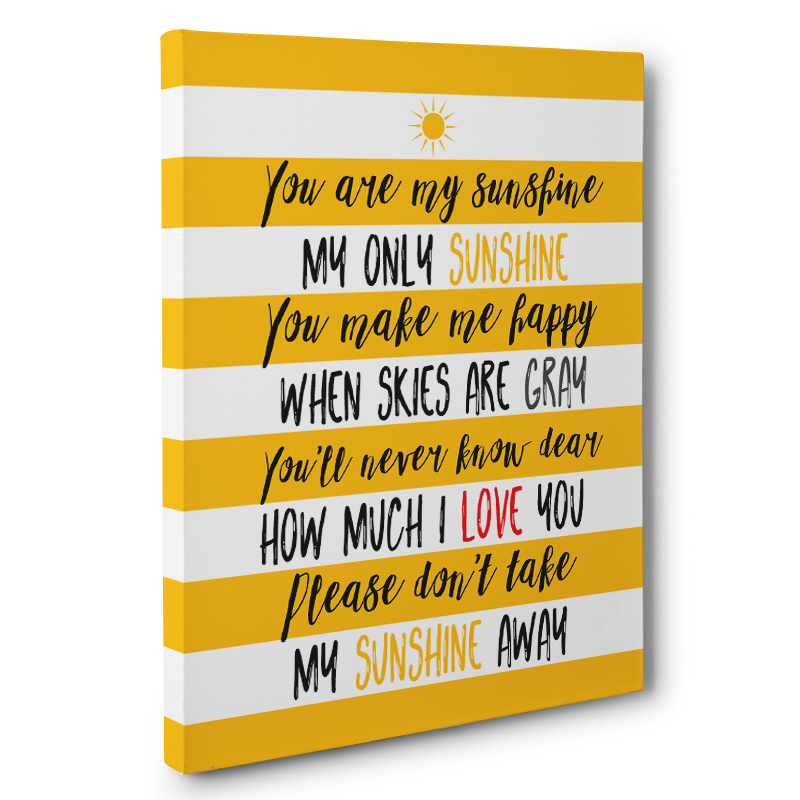 You Are My Sunshine Quote CANVAS Wall Art Home Decor