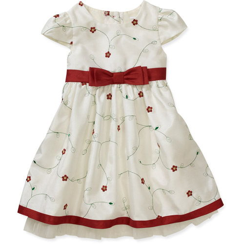 George Baby Girls' Embroidered Shantung Holiday Dress