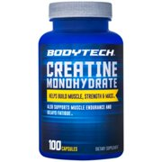 BodyTech 100 Pure Creatine Monohydrate 2250 MG  Supports Muscle Strength  Mass, 33 Servings (100 Capsules)