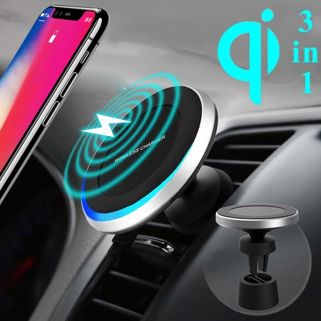 2in1 10W Qi Wireless Fast Charger Car Air Vent/Dashboard Charging Mount Holder Mount For QI Smart Mobile Phone - image 4 de 10