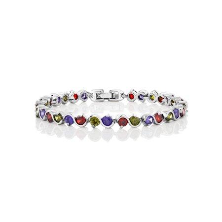 15.00 Ct Round Multicolor Cubic Zirconias CZ Tennis Bracelet 7 Inch (Multi Color Bracelet)