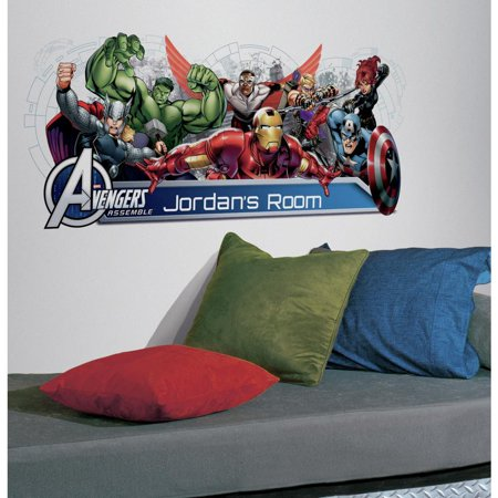 GIANT AVENGERS ASSEMBLE PERSONALIZE Headboard Mural Wall Decals Stickers Decor (Avengers Decor)