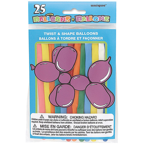 Twist and Shape Animal Balloons, Assorted, 25ct