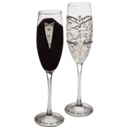 Bride & Groom Champagne Flutes - Set of 2