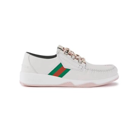 Gucci Men's Leather Lace-Up Low-Top Sneakers With Web