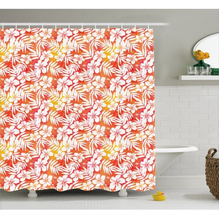 Orange Shower Curtain Fantasy Watercolor Backdrop With White Hibiscus Blossoms Leaves Aloha Jungle Fabric