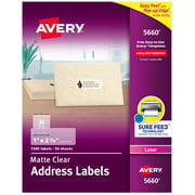 "Avery Address Labels, Sure Feed, 1"" x 2-5/8"", 1500 Clear Labels (5660)"