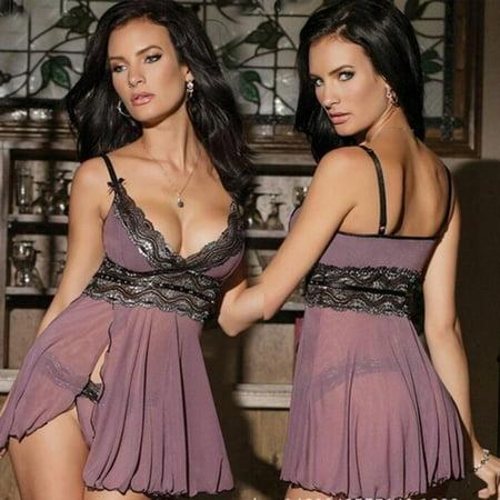Sexy Women Lace Lingerie Underwear Nightwear Clubwear Babydoll Set Plus Size ()