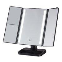 Onyx Professional LED Mirror with In-Base Storage and Magnifying Mirror - Black