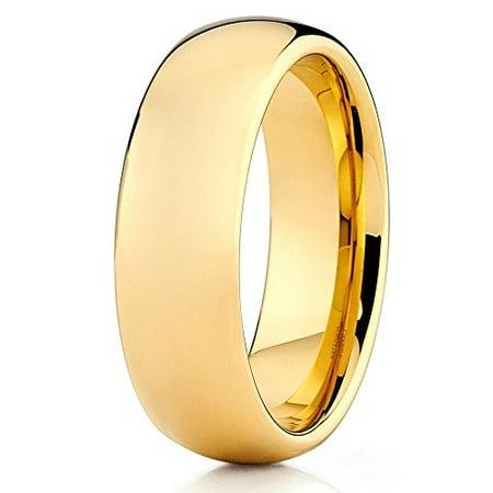 7mm Tungsten Wedding Band 18K Yellow Gold Tungsten Ring Tungsten Carbide Polish Shiny Men & Women Comfort Fit 7mm Tungsten Carbide Wedding Band
