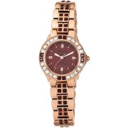 Women's Burgundy Swarovski Crystal Accented Rose Gold-Tone Watch, Stainless Steel