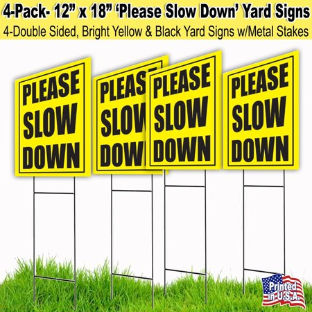 4 Pack Slow Down 12x18 Lawn Signs with H-stakes - Halloween Lawn Signs
