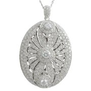 Luxiro  Sterling Silver Cubic Zirconia Scalloped Statement Oval Locket Pendant Necklace