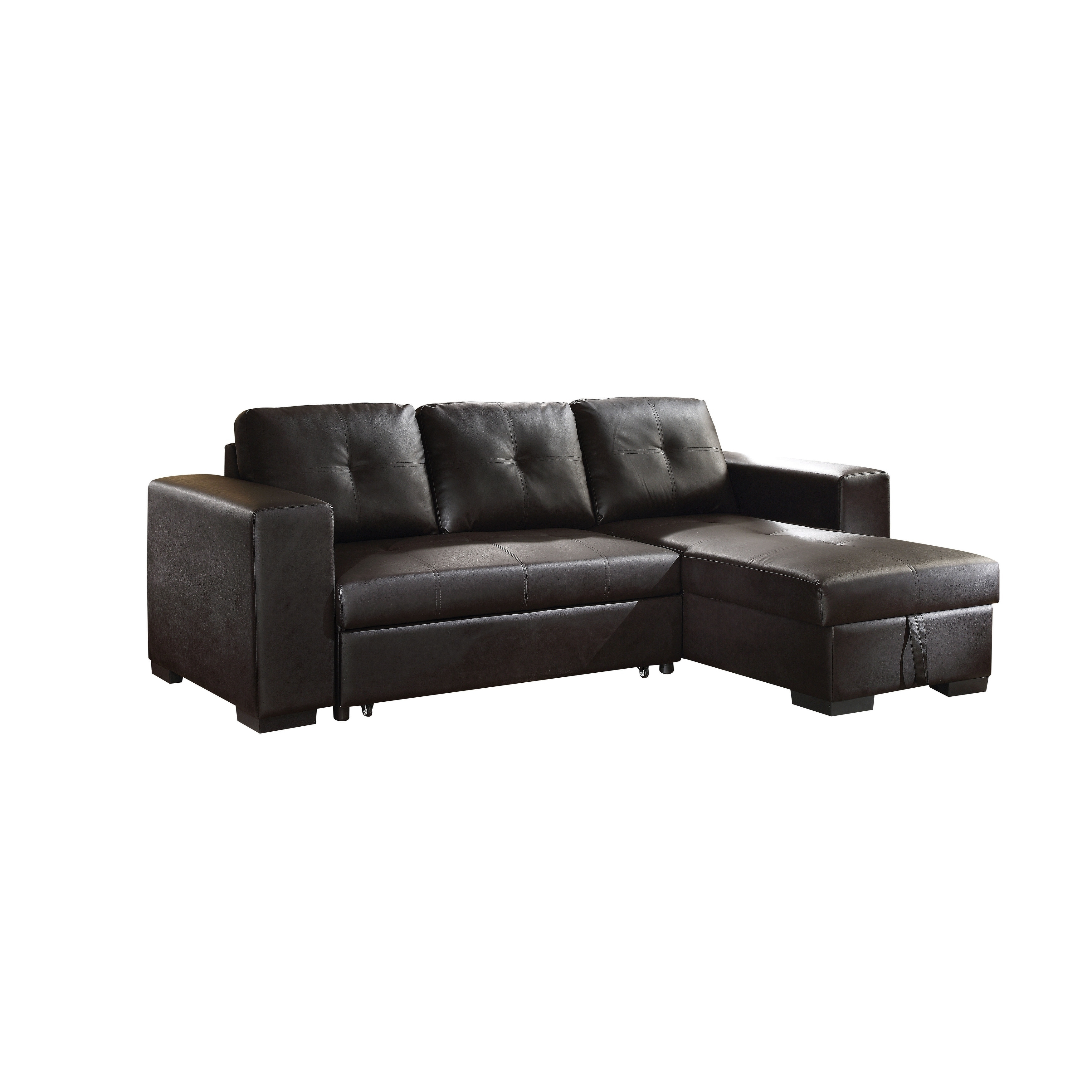 Product Image ACME Lloyd Sectional Sofa With Sleeper In Black Faux Leather