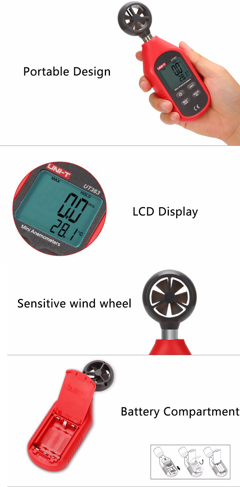 UNI-T UT363 Mini Digital Wind Speed Meter Pocket Anemometer Speed Temperature Tester... by Anemometers