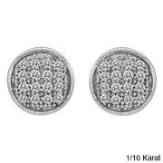 JewelonFire Sterling Silver Genuine White Diamond Stud Earrings