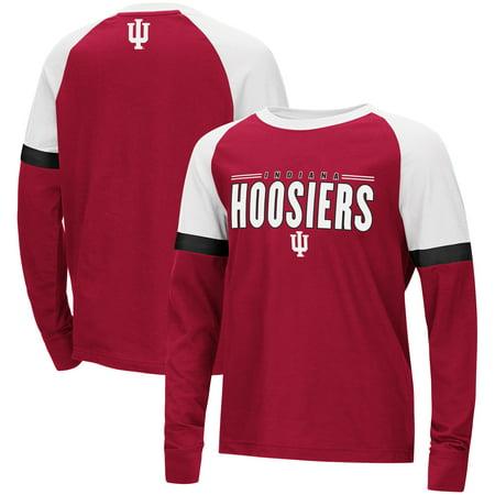 Indiana Hoosiers Colosseum Youth Ollie Long Sleeve Raglan T-Shirt - Crimson