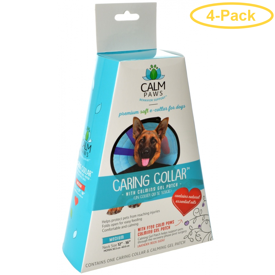 Calm Paws Caring Collar with Calming Gel Patch for Dogs Medium - 1 Count - (Neck: 12-16) - Pack of 4