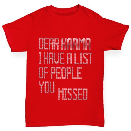 Boy's T-Shirt Dear Karma You Missed Novelty Rhinestone Tshirts - Boys Novelty Ties