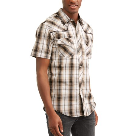 - Men's Short Sleeve Text Plaids with Piping And Offset Pockets Shirt