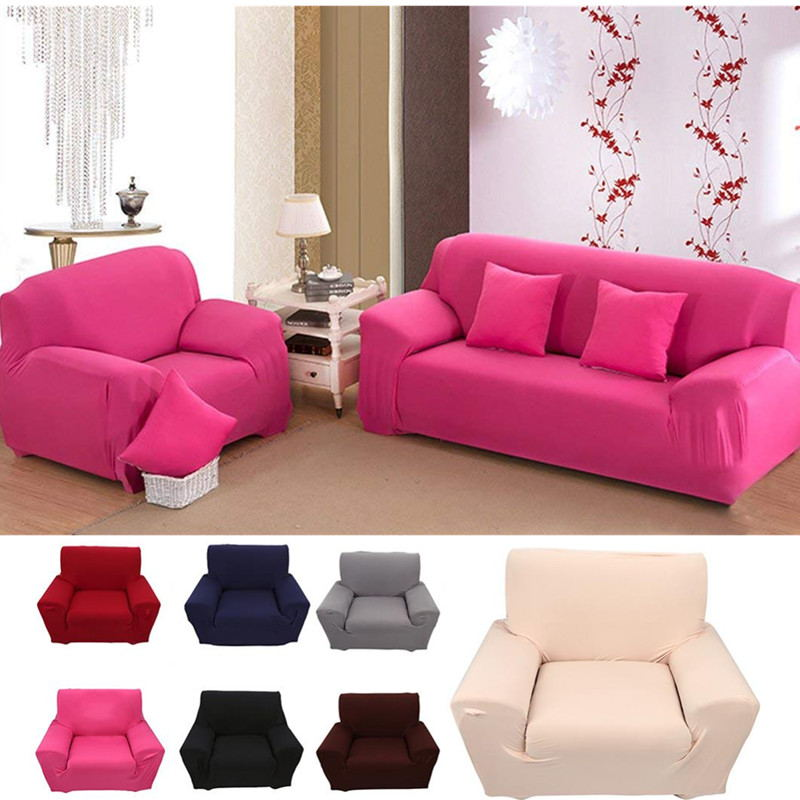 Stretch Elastic Slipcover Sofa Covers Form Fit Solid Color Furniture Protector Rose Red
