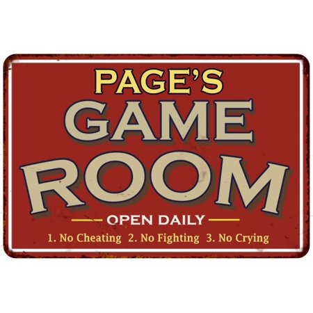PAGE'S Game Room Personalized Sign Vintage Look 16 x 24 Matte Finish Metal 116240001340