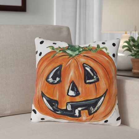 The Holiday Aisle Halloween Pumpkin Dots Throw Pillow - Halloween Pillow