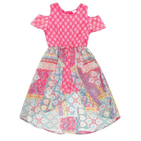 Cold Shoulder Walk-Thru Romper Maxi Dress (Little Girls & Big Girls)