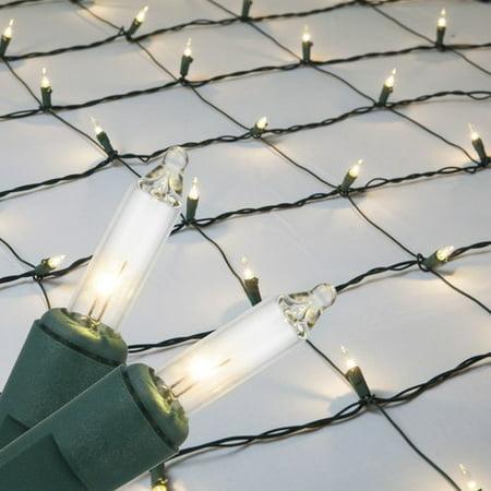 4' x 6' Clear Christmas Net Lights, 150 Lamps on Green - Orange Net Lights Halloween