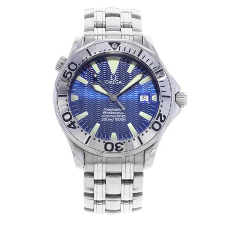 Pre-Owned Omega Seamaster 2255.80.00 Blue Metallic Index Dial Automatic Mens Watch