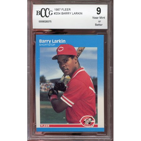 1987 fleer #204 BARRY LARKIN cincinnati reds rookie card BGS BCCG 9