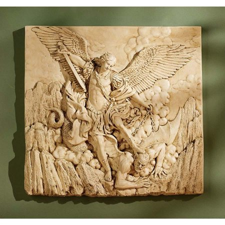Winged Classic Archangel St. Michael Sculptural Wall Frieze Decor Christian Art After the 1636 Painting By Guido