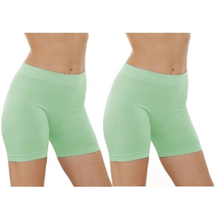 2 Pack Women's Seamless Stretch Yoga Exercise Shorts (Mint)