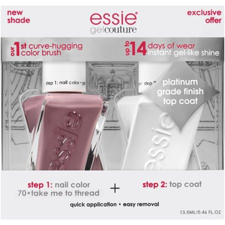 - essie Gel Couture Nail Polish + Top Coat Kit (Nudes), Take Me To Thread + Top Coat, 2 count