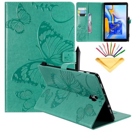 Dteck Flip Smart Case For Samsung Galaxy Tab A 10.5 inch 2018 SM-T590/T595/T597 Tablet, Premium PU Leather Folio Stand Wallet Case Full-Body Protective Auto Wake Sleep Cover, Green Butterfly