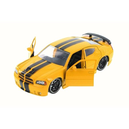 2006 Dodge Charger SRT8, Yellow - JADA 96807YV - 1/24 Scale Diecast Model Toy Car Dodge Charger Srt8 Wheels