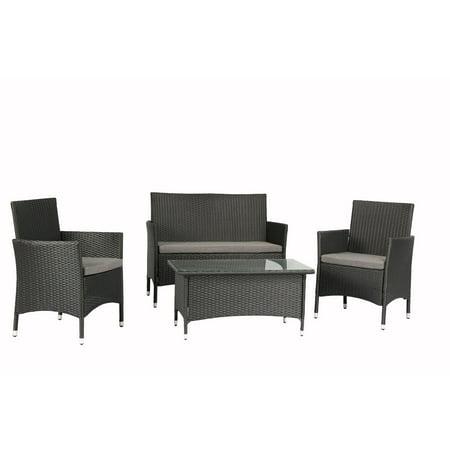 Baner Garden 4 Pieces Outdoor Furniture Complete Patio Wicker Rattan Garden Set, Black (N68-BL) 4 Piece Complete Set