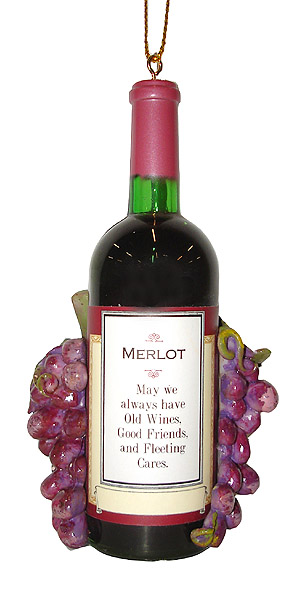 "4.25"" Vintage Tuscan Winery Merlot Wine Bottle and Grapes Christmas Ornament"