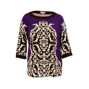 JM Collection Women's Rhinestone Decoration Tunic Top