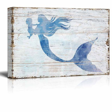 wall26 Canvas Wall Art - Mother Mermaid Holding Baby Mermaid | Maternal Love Ocean Theme Rustic Country Style Modern Giclee Print Gallery Wrap Home Decor - 24